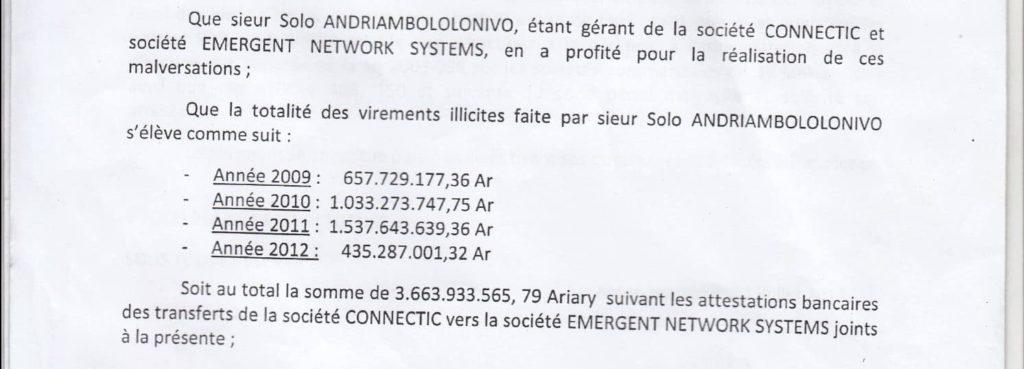 RANARISON Tsilavo dépose une plainte pour abus de biens sociaux d'un montant de 3.663.933.565,79 ariary équivalent de 1.042.067 euros à l'encontre de son patron Solo